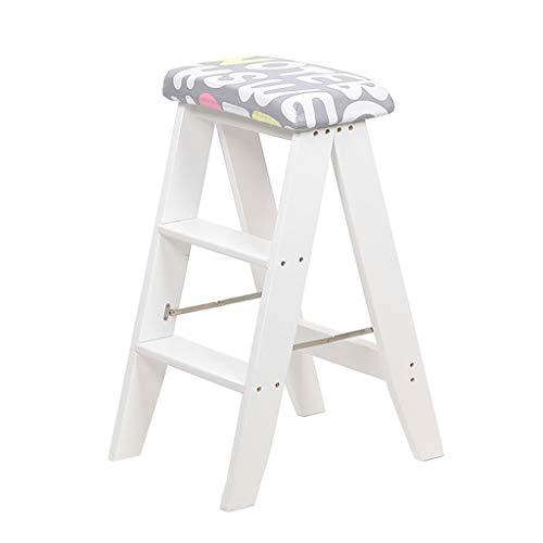 Stool Ladder- Tabouret pliant double usage créatif en bois massif tabouret escabeau portable maison petite échelle tabouret blanc avec coussin (Couleur : C)