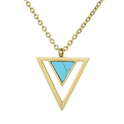 Morella Collar Mujeres con Colgante Doble triángulo Turquesa de Acero Inoxidable Oro en Bolsa de Terciopelo