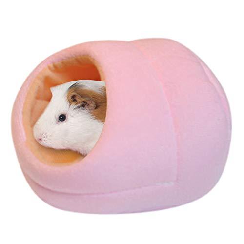 QIMANZI Kleine Tier Haus Nest Hamster Nest Matte Haustierbett Kleintiere warme Pad Schlafplatz Matratze für Hamster Meerschweinchen Chinchilla und andere Haustiere (14.5x15x10cm, Rosa)