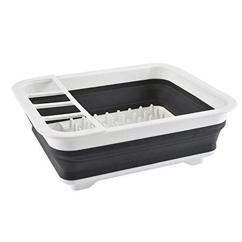 Nieuwe Opvouwbare Afdruiprek huis houden Plastic Folding Keuken Drain Rack Bestek Storage Box Inklapbare Bestek Stand (Color : Gray)