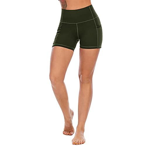 BAIDEFENG Pantalones de Yoga Alta Cintura Alta Hip-Levantamiento High Stretch Malla Hip Running Fitness Pantalones Deportivos con Bolsillo para Gimnasio, Ciclismo, Ocio Diario-Verde_X-Grande