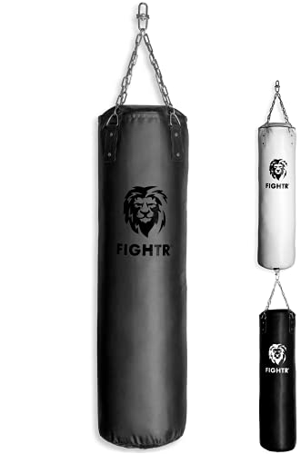 FIGHTR® Premium Boxsack - hoher Schlagkomfort & sehr Robust | ungefüllter Punching Bag hängend 120x35cm inkl. Heavy Kette für Boxen, Kampfsport, MMA (ungefüllt, All Black Vinyl)
