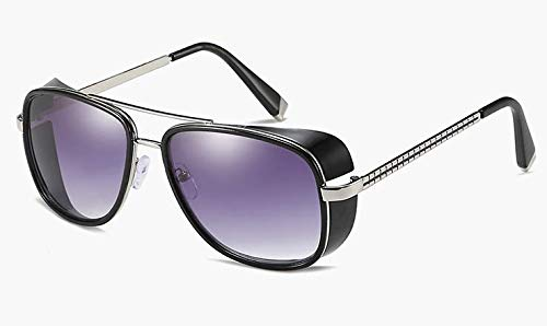 Sunwd Gafas de Sol para Hombre y Mujer, Male Steampunk Sunglasses Tony Stark Iron Man Matsuda Sunglasses Retro Vintage Eyewear Steampunk Sun Glasses UV400 Oculos De Sol Gun