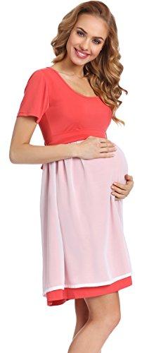Be Mammy Elegante Vestido de Fiesta Premamá Ropa Maternidad Mujer 91R3N1 (Coral, XL)