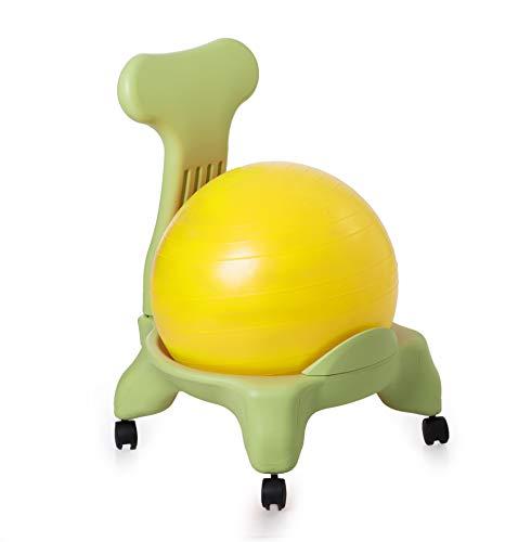 Kikka Active Chair verde con palla gialla - sedia ergonomica con pallone gonfiabile