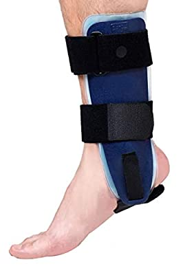 Velpeau Ankle Brace - Stirrup Ankle Splint - Adjustable Rigid Stabilizer for Sprains, Strains, Post-Op Cast Support and Injury Protection (Gel Pads, Large - Right Foot)