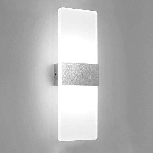 VINGO 12W LED Wandleuchte Kaltweiß Wandbeleuchtung Acryl Wandlampe Innen, Modern Lampe für Wohnzimmer Korridor Treppenhaus Flur