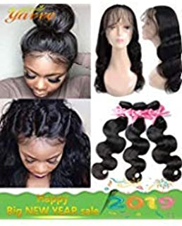 360 Lace Frontal with Bundles Pre Plucked (14 16 18+12 360Frontal) 8A Brazilian Virgin Hair Body Wave 3 Bundles with Closure Bady Hair 100% Unprocessed Human Hair Extensions Natural Color