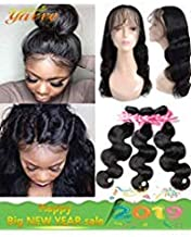 360 Lace Frontal with Bundles Pre Plucked (18 20 22+16 360Frontal) 8A Brazilian Virgin Hair Body Wave 3 Bundles with Closure Bady Hair 100% Unprocessed Human Hair Extensions Natural Color