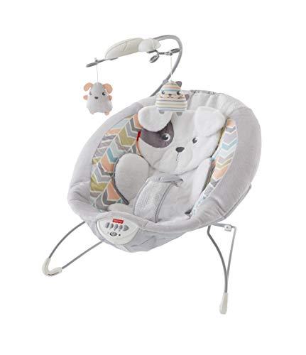 Fisher-Price GWD50 Deluxe Elektrische Baby Wippe im Hundebaby Design mit beruhigenden Schwingungen und Musik bis 9kg, Babyausstattung ab Geburt