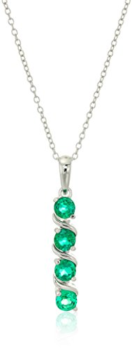 Sterling Silver Created Emerald Four Stone Pendant Necklace, 18""