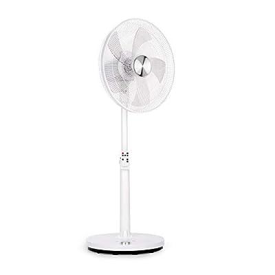 "Klarstein Clear Stream - Pedestal Fan, Standing Fan, Air Cooler, 16"" (41 cm), 28 W, 3120m³ / h, Oscillation 90 °, 3 Wind / 12 Speed Levels, Height Adjustable, Remote, White"