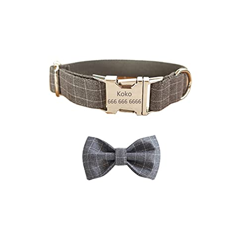 Gohome Pet Dog Collar Custom Personalized Engraved Name and Phone Number Metal Buckle Adjustable Bowtie Dog Collar for Small Medium Large Dogs Collar with Bow tie (M, Grey)