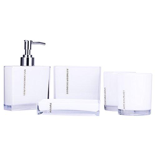 SOONHUA - Juego de 5 accesorios de baño acrílicos para vasos de...
