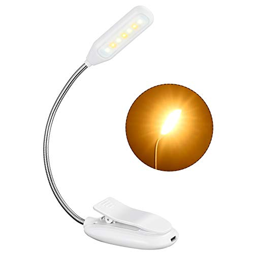 Rechargeable Book Light up to 60 Hours Reading, TOPELEK 7 LED Reading Light with 3 Brightness x 3 Color Temperature, Easy Clip On Reading Lamp for Night Reading in Bed for Bookworms, Kids (White)