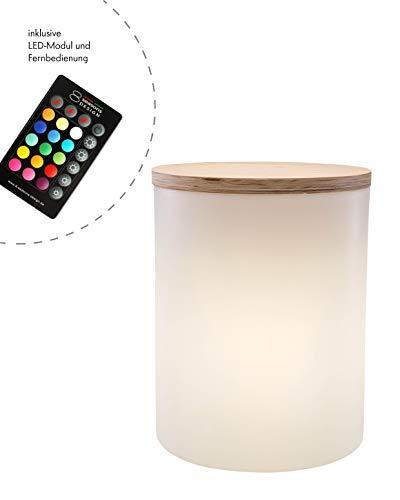 8 seasons design | LED Leuchtzylinder Beistelltisch Hocker Pflanzkübel Shining Drum (45cm hoch, Ø 37 cm, RGB Farbwechsel, dimmbar, Holzabdeckung, 10l, Indoor & Outdoor) weiß