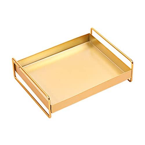 GASSDINER Metall Schmuck Tablett, Metall Schreibtisch Ablagebehälter Gold Aromatherapie Supppies Display Halter Tablett für Badezimmer Schlafzimmer Home Office Schreibtisch Office