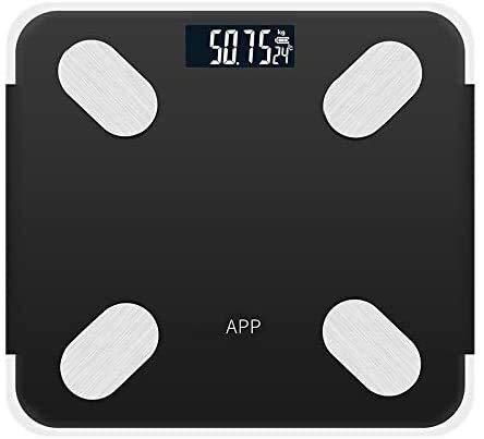Negro recargable APP Android iOS inteligente del cuerpo humano escala electrónica de Metro de Grasa miden la temperatura de baño Marco LCD Tiempo de la dieta voz que presenta un peso de Instrumento Ji