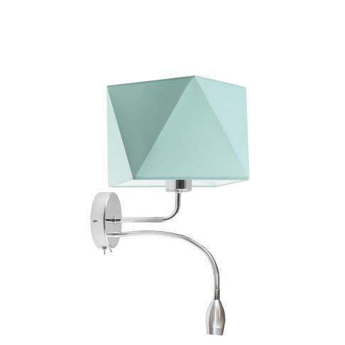 Kent - Lámpara de pared con pantalla LED, marco de color menta, cromo