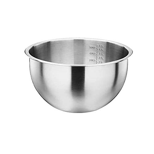 Stainless Steel Bowls Mixing Bowl with Scale Deep Mixing Egg Bowls Kitchen Metal Bowl for Baking Salad Cooking Baking Accessory (Color : Diameter 16cm)