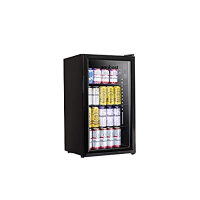 Beverage Refrigerator and Cooler - Mini Fridge with Glass Door, Small Drink Dispenser Machine for Soda Beer or Wine, 100-Can Capacity for Home or Bar, with Adjustable Removable Shelf (3 Cu.Ft)