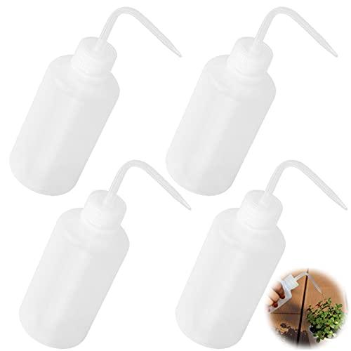 Spritzflasche Waschflasche Squeeze Flasche 250 ml Plastikflaschen Waschen Flasche Kunststoff Klare Quetschflasche Condiment Flaschen für Pflanzen Gartenarbeit Industrie Labor und Chemie Weiß 4 Stück