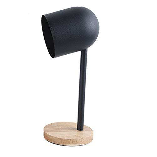 TOMSSL Estilo Europeo Y Americano De Madera Negro De Lujo Modernos Stents De Metal De Base Sencilla Lámpara De Lectura De La Lámpara De Cabecera De Mesa De Metal Negro Sombra Personalidad Creativa Sal