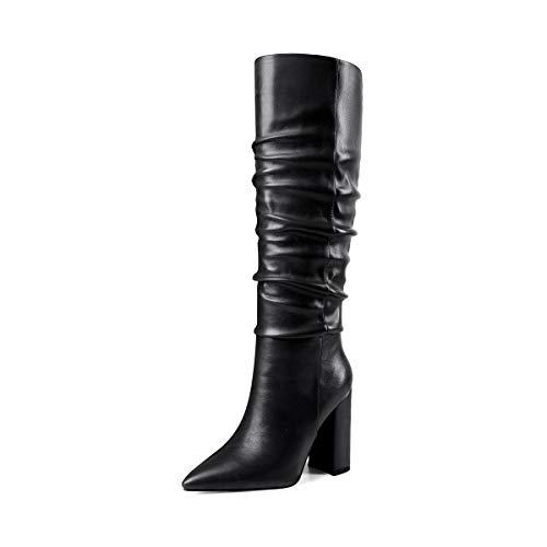 ROSEIDOL Women's Black Pointed Toe High Heel 4 Inch Slip On Block Matte Knee High Chooka Boots Size 9.5