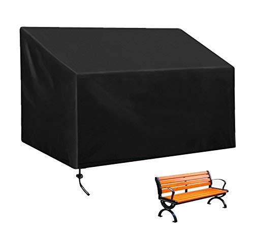 CCZUIML (2/3/4 Seat) Garden Chairs Protective Cover, Waterproof Windproof UV Resistant Oxford Fabric Cover, Bench Cover with Windproof Drawstring, for Garden Chair Stacking Chair