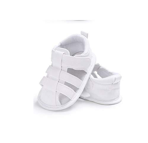 Geagodelia Sandalias para niños, simpáticas, de tela, suela blanda, para pesebre y zócalos, para niño, para el exterior Color blanco. 0-6 meses