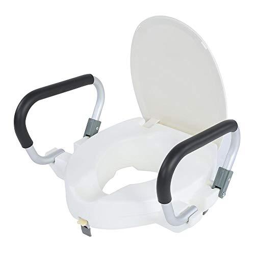 Cocoarm Toilettensitzerhöhung Toilettensitzerhöher mit Armlehnen und Deckel Erhöhter Toilettensitz für Behinderte, 10cm Erhöhter, 150 kg Tragkraft