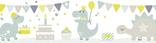 lovely label Bordüre selbstklebend DINOPARTY TAUPE/MINT/LIMETTE - Wandbordüre Kinderzimmer/Babyzimmer mit Dinosauriern - Wandtattoo Schlafzimmer Mädchen und Junge – Wanddeko Baby/Kinder