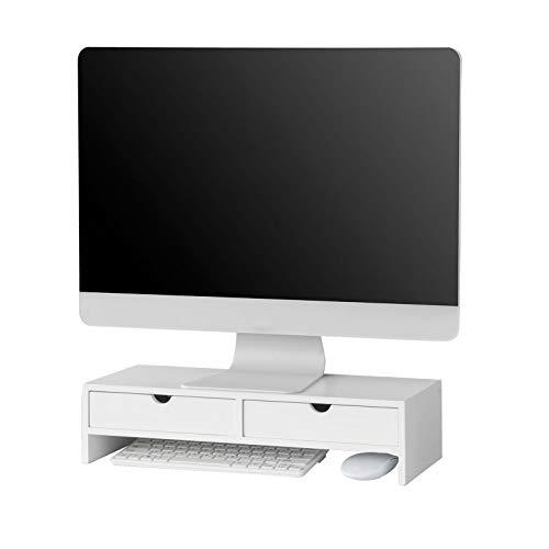 SoBuy BBF02-W Monitor Bildschirm Ständer Monitorerhöhung Bildschirmerhöher Monitorständer mit 2 Schubladen Weiß BHT ca.: 47x11x18cm