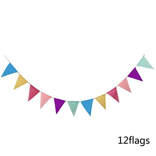 HYLEI 12 Flags Non-Woven Fabric Cloth Banners Wedding Bunting Decor Party Shower Garland Tent Birthday Party Decoration
