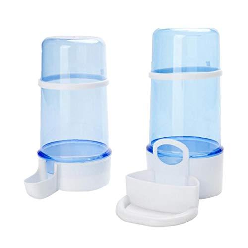 Alimentador de pájaros pájaro del animal doméstico del agua automático de la jaula de pájaros de Alimentos del envase del agua del dispensador de Suministros de botellas con soporte Azul 2 piezas