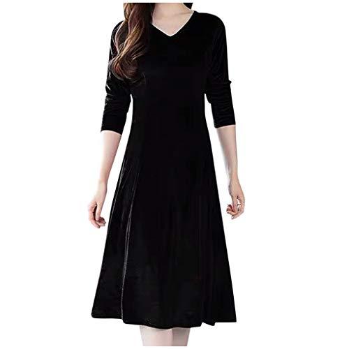 Sayhi Autumn Women V-neck Velvet Full Dress Long Sleeve Slim Gown High Waist Midi Dress Cocktail Dress(Black,L)