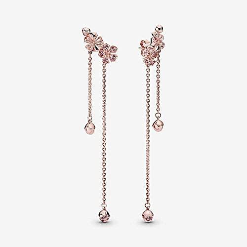 VIQNJ Pendientes S Mujer 925 Plata de Ley Pendientes de Flor de melocotón Pendientes creativos de Oro Rosa Pendientes de Moda Femenina Tachuelas