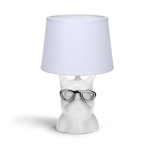 Aigostar 197131 - Lámpara de Cerámica, casquillo E14, Blanco, Forma de perro. Lámpara de Mesa o Mesita de Noche, Pantalla de Tela, Lámpara Escritorio Diseño moderno para Dormitorio, Estudio etc