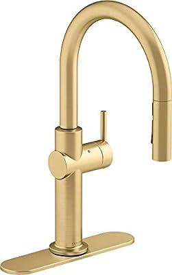 Kohler K-22974-WB-2MB Crue Kitchen Sink Faucet, Vibrant Brushed Moderne Brass
