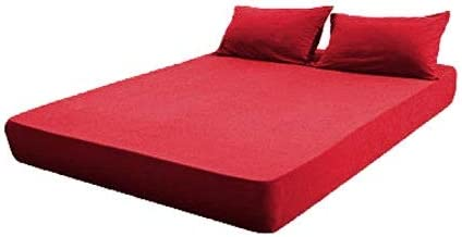 Toson Sleeping Systems Fitted Bed Sheet Cotton - Red,180×200cm