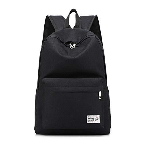 Rugzak eenvoudig van canvas schoolrugzak groot grijs voor meisjes kinderen jongeren laptoptassen voor reizen mannen grijs dames heren, blue (zwart) - wwttoo 24/8-190