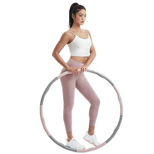 SYLTL Hula Hoop Fitness Adulto, Desmontable Hula Hoop Desmontable De 8 Secciones, Relleno De Espuma Weighted Hula Hoop para Pérdida De Peso,Rosado