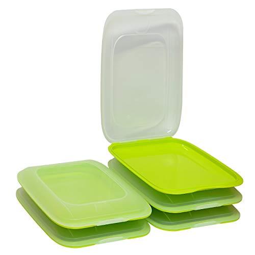 ENGELLAND - Hochwertige stapelbare Aufschnitt-Boxen, Frischhaltedose für Aufschnitt. Wurst Behälter. Perfekte Ordnung im Kühlschrank, 5 Stück Farbe Grün, Maße 25 x 17 x 3.3 cm