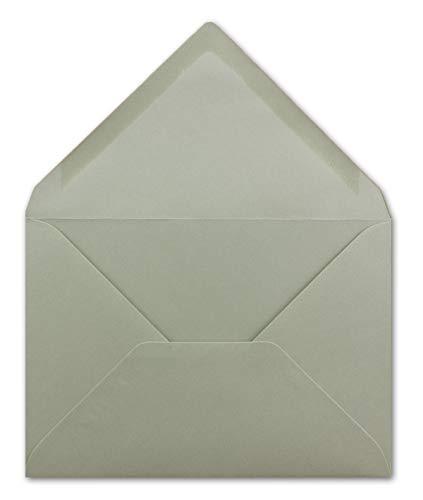 50 Briefumschläge DIN C6 Schiefergrau - 11,4 x 16,2 cm - Kuvert mit 100 g/m² Nassklebung spitze Klappe - Umschläge ohne Fenster - Colours-4-you