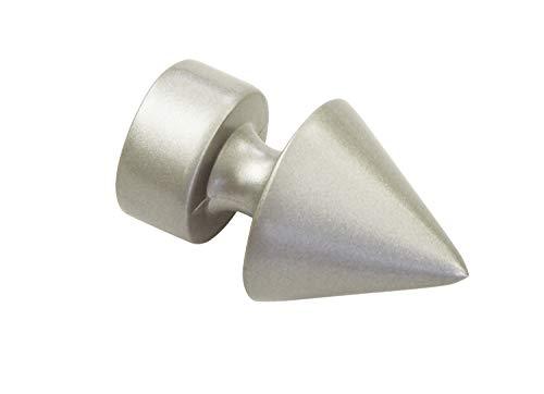 Gardinia Spitze, 2 x Endstück, Metall, Silber-Satin, für Gardinentechnik Ø 19 mm