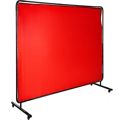 Mophorn Welding Screen with Frame 8' x 6', Welding Curtain with 4 Wheels, Welding Protection Screen Red Flame-Resistant Vinyl, Portable Light-Proof Professional