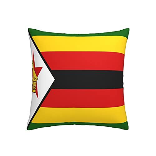 Kissenbezug Flagge von Simbabwe, quadratisch, dekorativer Kissenbezug für Sofa, Couch, Zuhause, Schlafzimmer, Indoor Outdoor, niedlicher Kissenbezug 45,7 x 45,7 cm