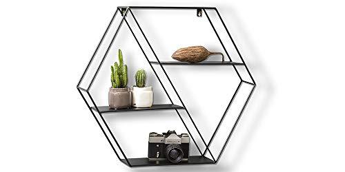 LIFA LIVING Hexagon Wandregal aus Metall mit 4 Böden, Schwarzes Industrie Gewürzregal mit 4 Etagen, Hängeregal, Regale für die Wand, 58 x 51 x 11 cm