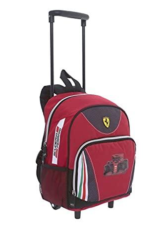 FRANCO COSIMO PANINI Trolley Bambino Scuola Materna - Zainetto Ferrari Kids Rosso per Bimbi Asilo - Zaino Rotelle per Viaggi e Tempo Libero con Tasca - 23x30x15 cm