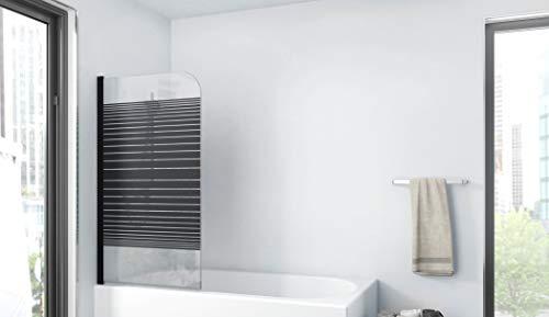 MARWELL BLACK LINES Badewannenaufsatz 75 x 140 cm 1-teilig - aus 4mm starken Einscheibensicherheitsglas, matt schwarzes Design